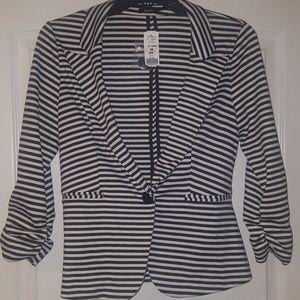 Poetry Jackets & Coats - Poetry Black & White Striped Blazer